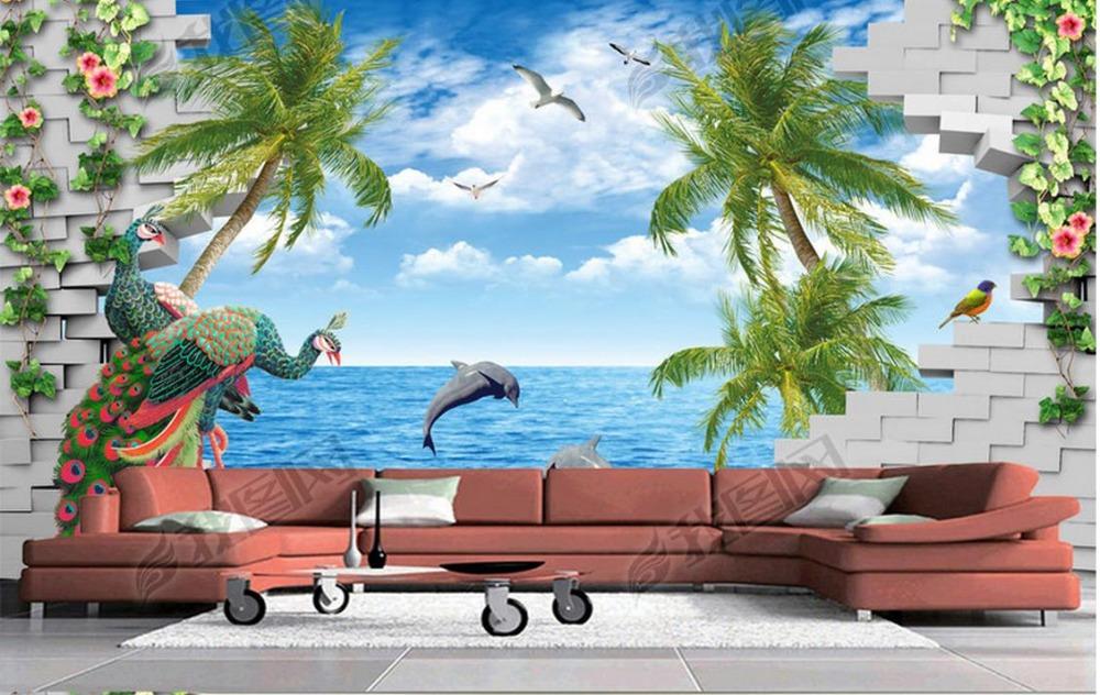 Custom 3d photo wall mural wallpapers for living room Blue sky sea coconut peacock 3d mural wallpaper