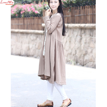 linen v-neck pleated casual cardigans tops women large size long t-shirts spring new girls one-piece garments