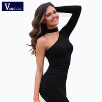 Brand Women High Quality one-shoulder halter SEXY CLUB dress Fashion women Elegant Vintage solid knee-length dress Party Dress
