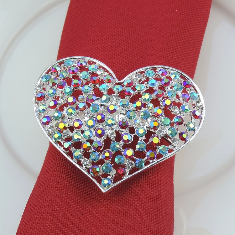 10pcs/lot Simple creative restaurant table decoration, diamond napkins buckle exquisite love napkin rings