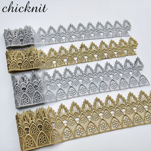 Image 4 - ASHION gold lace silver lace trim water soluble embroidery crown flower sewing lace fabric islamic headscarf hair accessories JB
