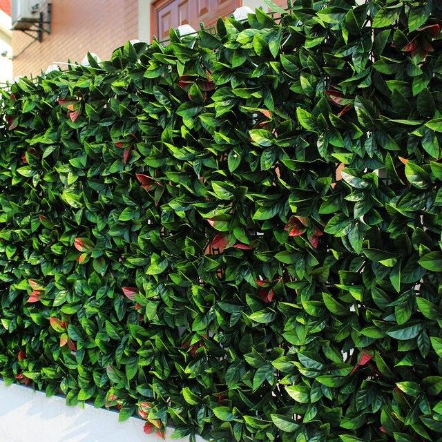 Uland artificial buxo esteiras 50x50 cm pc folhas de louro sint tico cerca hedges de plantas - Laurel de jardin ...