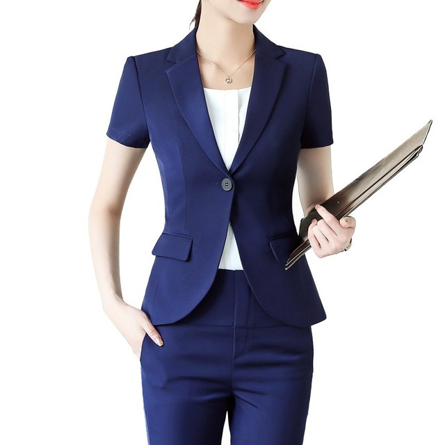 bb97db2e7e9 New Slim navy blue pants suits Fashion business short sleeve blazer and  pants formal Interview office ladies work clothes