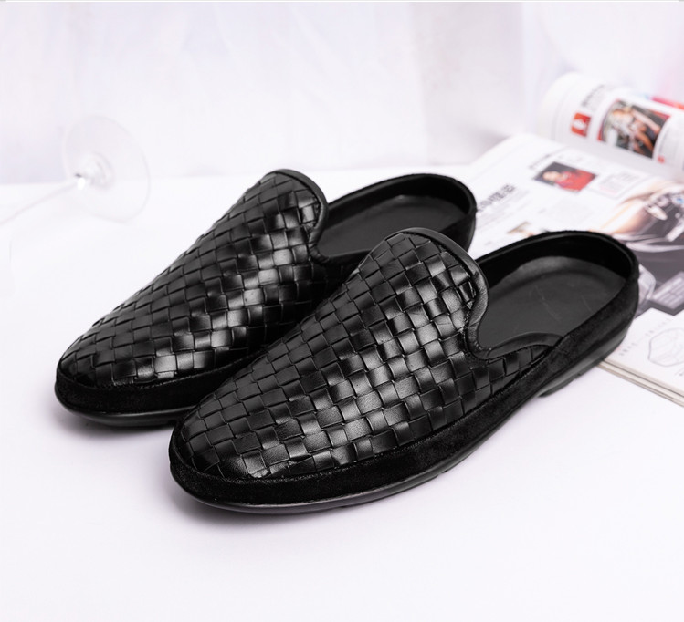 2019 Genuine leather men 39 s sandals Casual shoes Sheepskin Slipper Ventilation Hand knit High quality fashion Doug shoes