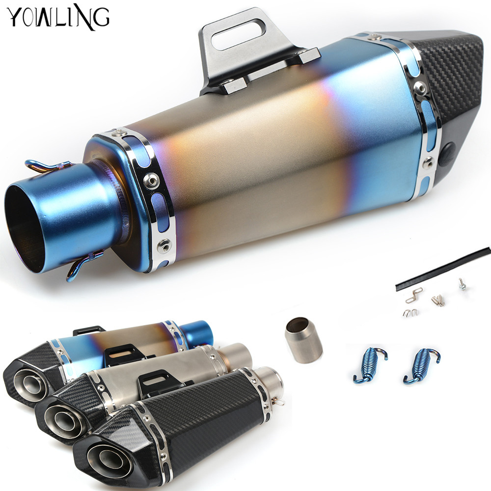 Universal Motorcycle Real carbon fiber exhaust Exhaust Muffler pipe FOR kawasaki versys 650 yamaha yzf r125