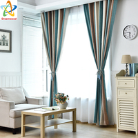 Dreamwood European Style Thickening Chinille Blackout Curtain Luxury High Quality Stripe Liging Room Window Curtain Design