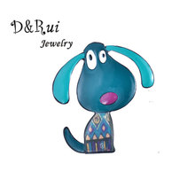 Cute Enamel Brooch Zinc Alloy Cartoon Dog Brooches pins Classic Charm Animals Puppy Women Men Girls Pin Jewelry Accessories 2019 alloy cartoon puppy enamel brooch