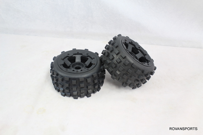 5B baja rear knobby  tires set  with new hub 85038-2 billet rear hub carriers for losi 5ive t