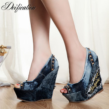 Deification High Platform Slip On High Heels Rivet Studded Denim Gladiator Sandals Women Peep Toe Wedge Heel Canvas Shoes Zapato deification high platform slip on high heels rivet studded denim gladiator sandals women peep toe wedge heel canvas shoes zapato