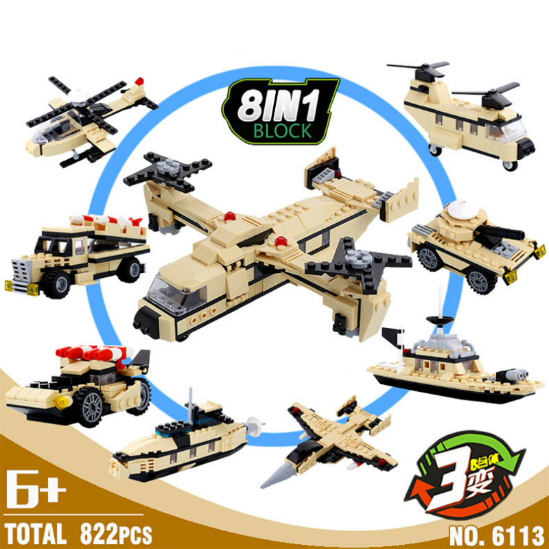 HSANHE 8in1 Military 822pcs Heavy Transport Aircraft 24 Deformation Building Block Sets Models Educational Children Toys gabriela pohoata romanian educational models in philosophy