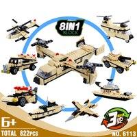 HSANHE 8in1 Samoloty Wojskowe 822 sztuk Transportu Ciężkiego 24 Deformacji Building Block Ustawia Modele Edukacyjne Zabawki Dla Dzieci