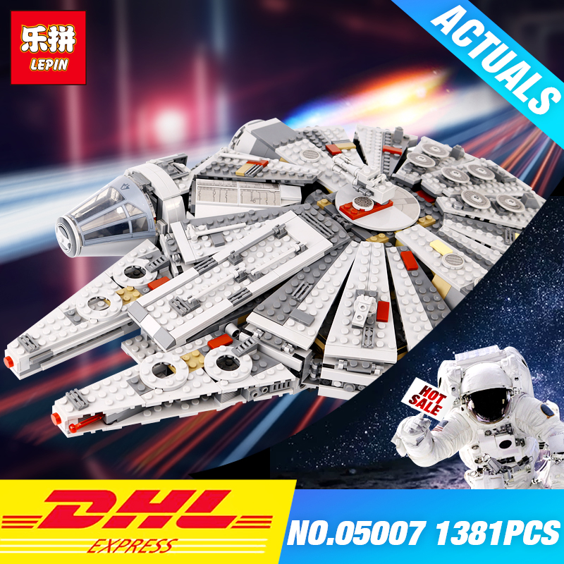 все цены на LEPIN 05007 Star 1381pcs Wars Building Blocks Force Millennium Awakens Falcon Model Kits Rey BB toy 8 Educational DIY toys 75105 онлайн