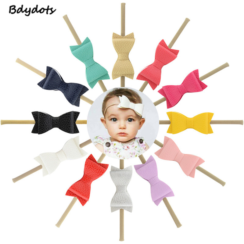 12Pcs/Lot 3inch Boutique Leather Bowknot Nylon Headband Elastic Hairbands Kids Small Bow Hair Accessories Baby Girls Headwear sequin bow minnie mouse ears headband for kids shiny glitter hair bow hairbands girls photography props hair accessories