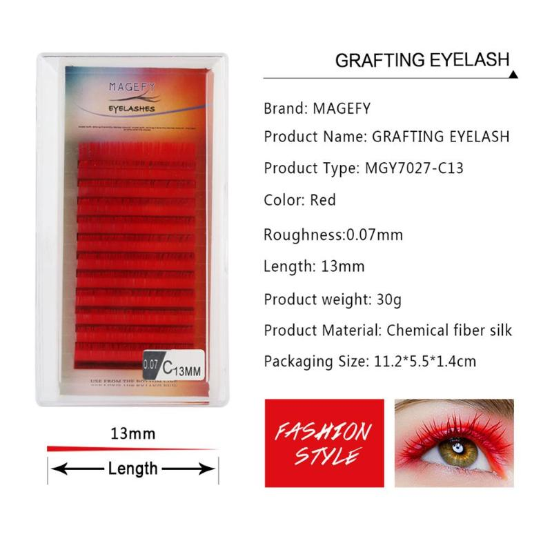 5ca6fe3490e C Curl 14mm Red Color Lashes Soft Natural False Eyelashes Handmade  Synthetic Colored Individual Grafted Extension Fake Lashes -in False  Eyelashes from ...