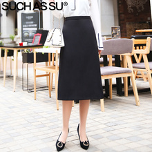 SUCH AS SU New Knitted A Line Skirts Women 2019 Spring Summer High Waist Mid Long Skirt S-3XL Size Slim Wave Point Skirt