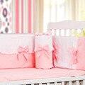 4 pçs/sets cotton baby bedding sets romântico rosa arco computador bordados rendas bebê pára de cama em torno de bebê folha bedding