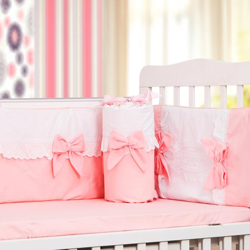 4Pcs /Sets Cotton Baby Bedding Sets Romantic Pink Bow Computer Embroidery Lace  Baby Bumper Bed Around Sheet Baby Bedding кпб евро lux cotton romantic кбr 41 рис 11715 11716 вид 1 селин