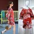 Nueva Llegada 2016 de primavera y verano runway marca de alta calidad de las mujeres vestidos de la impresión floral plisado volantes de manga larga vestidos casuales