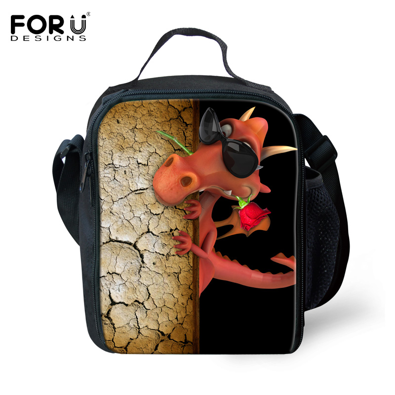 FORUDESIGNS Lancheira Thermo Lunch Bags for Kids Insulated Lunch Bags Cartoon Animal Dinosaur Women Thermal Food Bolsa termica