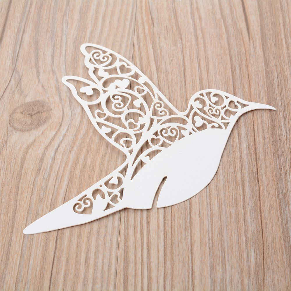 50 Laser Cut Love Bird Shape Wine Glass Place Cards Table Mark Name Paper Laser Cup Cards For Wedding Party Decoration