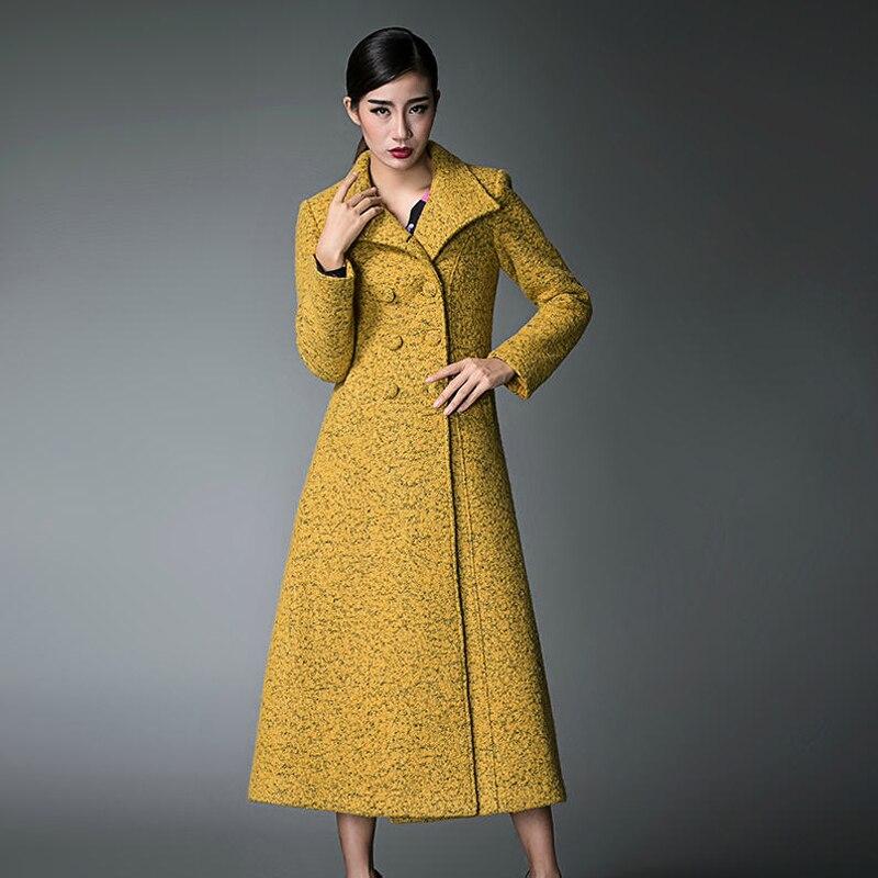 De Dames Super Long Col Impression Grey Femmes S yellow Pardessus Survêtement D026 Hiver Automne Slim Laine Tranchée Montant 2018 Élégant xxxl wzgOxYpAq8