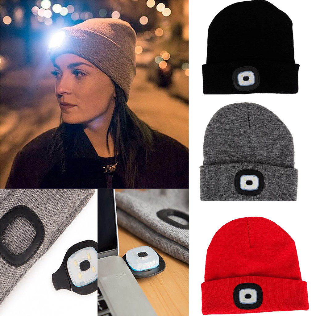 51c7ccc7e3a Detail Feedback Questions about winter hats for women fashion USB  Rechargeable LED Light up Knit Hat Beanie Warm Cap Gifts womens beanie hats  gorros ...