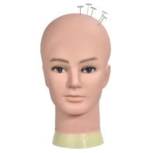 Bald Mannequin Head For Making Wigs With Stand 22 Inch Rubber Training Mannequin Head No Hair For Hats Display Makeup Practice(China)