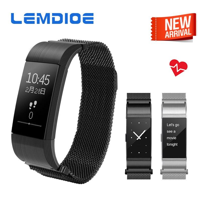LEMDIOE S18 Bluetooth Smart Band Support Heart Rate Blood Pressure Monitor Smart Wristband Waterproof Bracelet for
