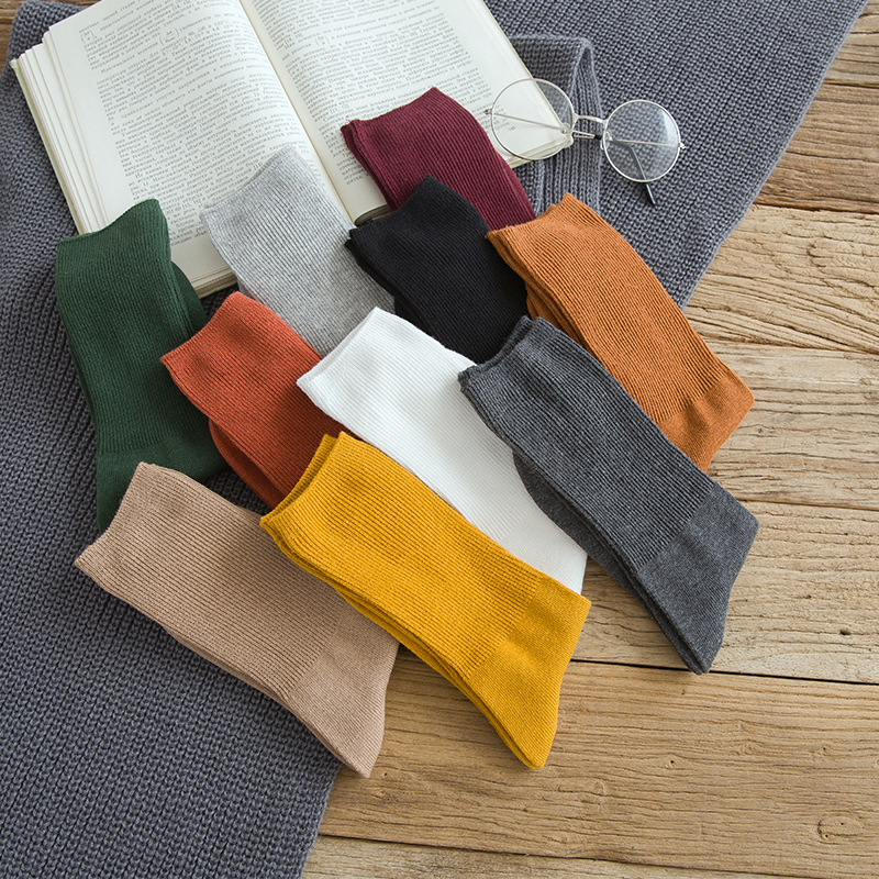 Autumn new women 39 s Harajuku retro colorful high quality fashion cotton color casual socks in Socks from Underwear amp Sleepwears