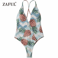 CharMma Pineapple High Cut Cross Back Swimwear Summer Tropical Style One Piece Swimsuit Vacation Strappy Back