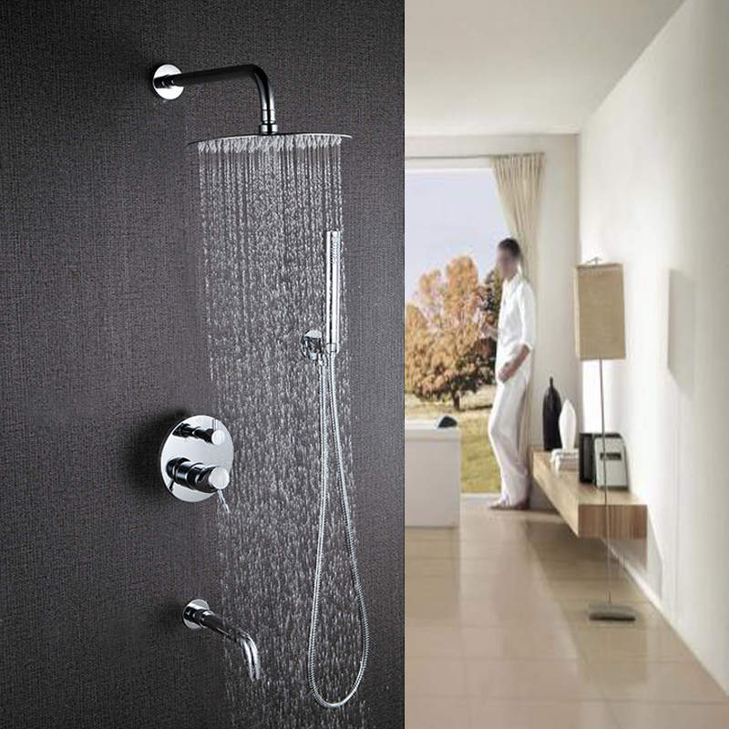 Polished Chrome Round Rain Shower Head 3 Ways Valve Mixer Tap Tub Spout Handy