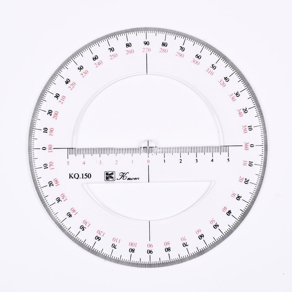 Online Shop 1pcs 360 Degree Protractor Circle Master Template 1pc Compass Diagram 15cm 6inch Double Scale Circular
