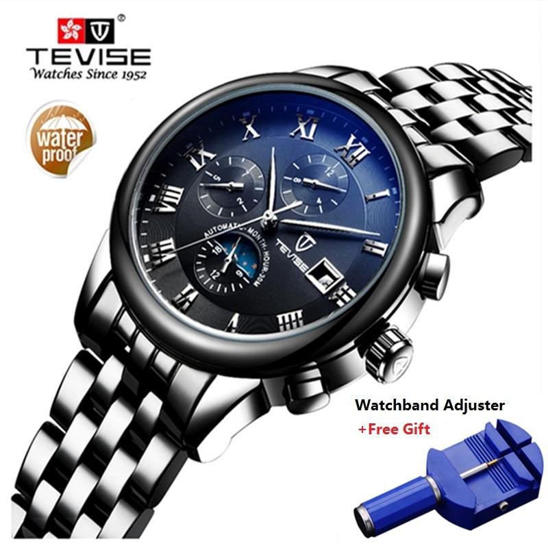 6b0b6dc4064 TEVISE Homens Marca De Luxo Mens Relógio Mecânico Automático Relógio de  Ouro Relogio masculino de Aço Inoxidável Relógios À Prova D  Água Luminosa  em ...