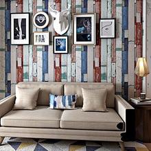 Nordic vintage style imitation wood grain wallpaper Bar cafe sticker living room bedroom clothing store PVC decoration
