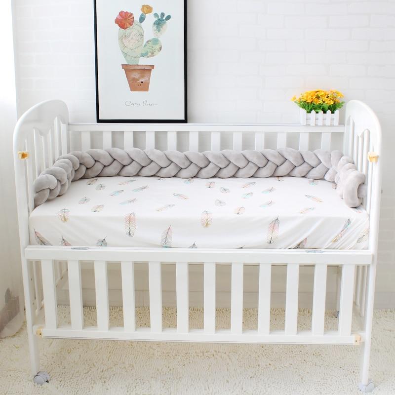 200cm długość Baby Bed Bumper Pure Color Tkactwo Pluszowe Baby - Pościel - Zdjęcie 5