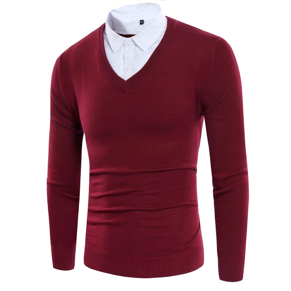 Gefälschte Zwei Stücke Männer Pullover 2017 Stil Shirts Kragen - Herrenbekleidung - Foto 1