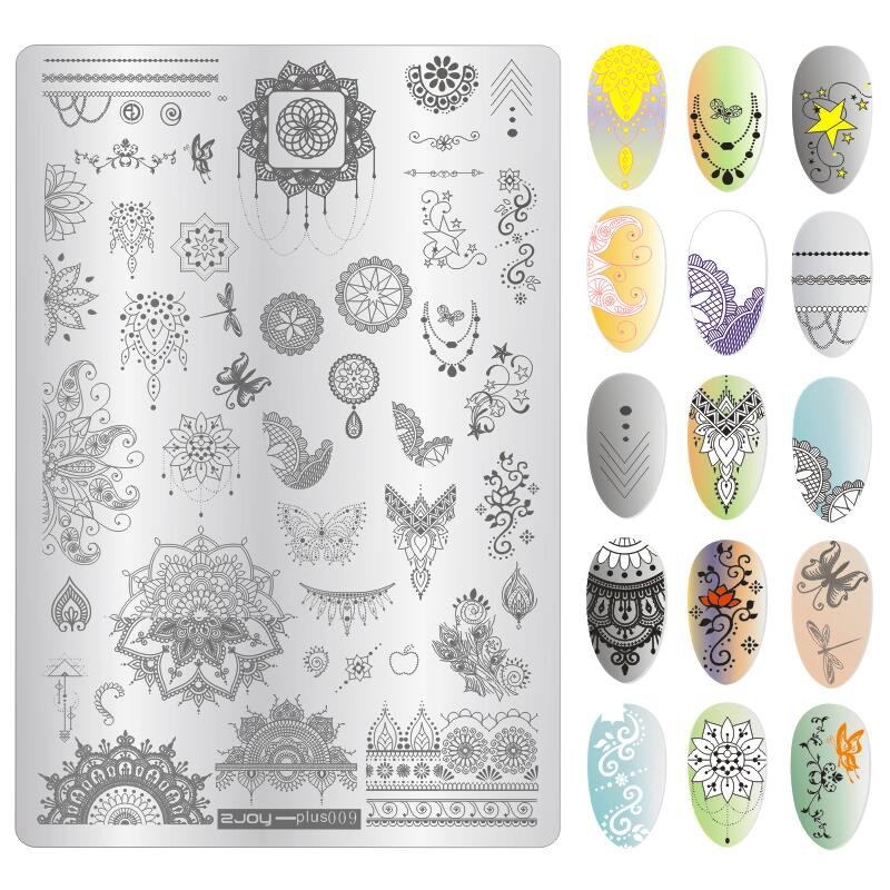 9 5 14cm Nail Art Stamping Plates Christmas Halloween Feather Necklace Manicure Polish Stamp Stencil Nails Tips Accessoires New in Nail Art Templates from Beauty Health