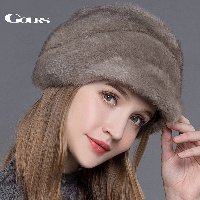 Gours Women's Fur Hats Whole Real Mink Fur Hat with Floral Luxury Fashion Russian Winter Thick Warm High Quality Cap New Arrival genuine mink fur hat for women winter imported whole mink fur cap floral pattern 2015 russian high end luxury female hats