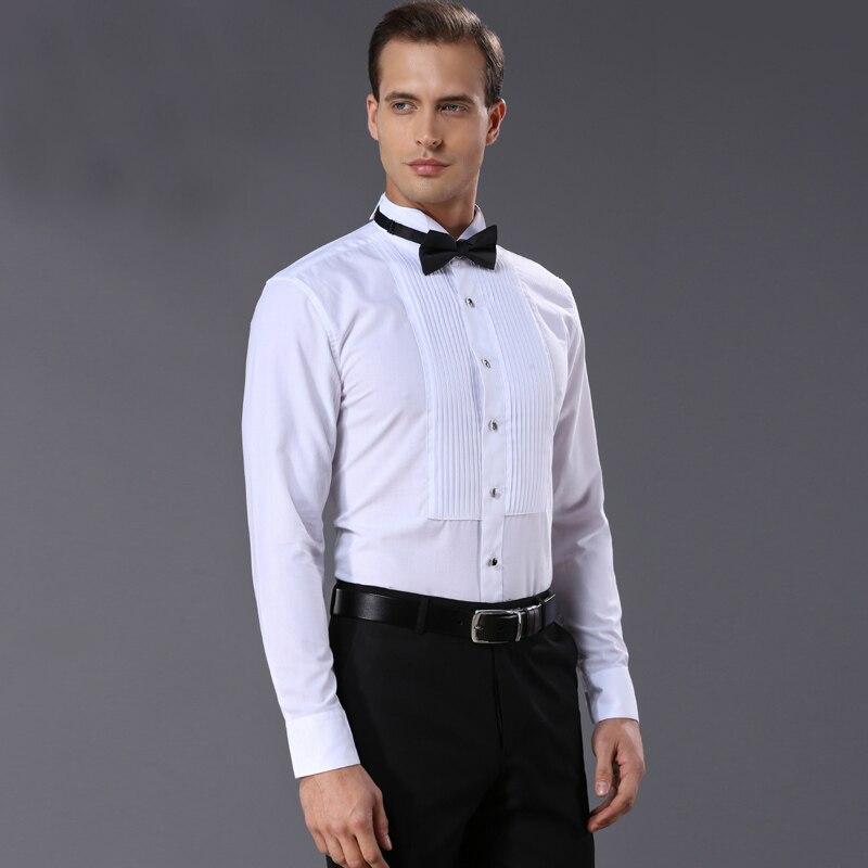 french style Mens Shirts quality Fashion white Men dress shirt Tuxedo Clothing wash and wear finishing shirt men for wedding