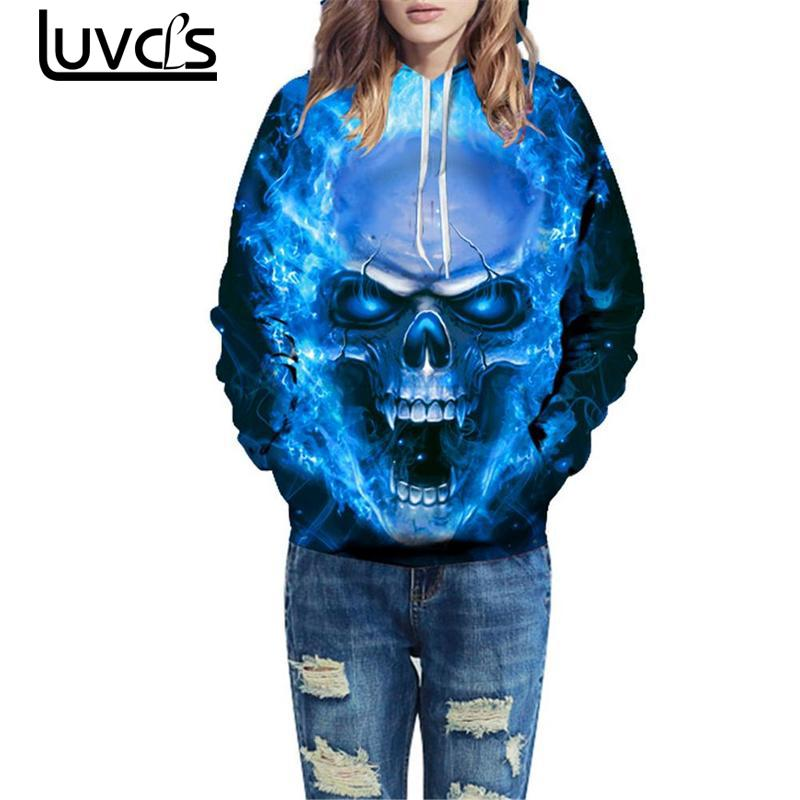 LUVCLS 2018 New Loves Hooded Fashion Women/men Loose Sweatshirt Couples Women Pullover Tracksuit 3d Printing Skull Sweatshirt