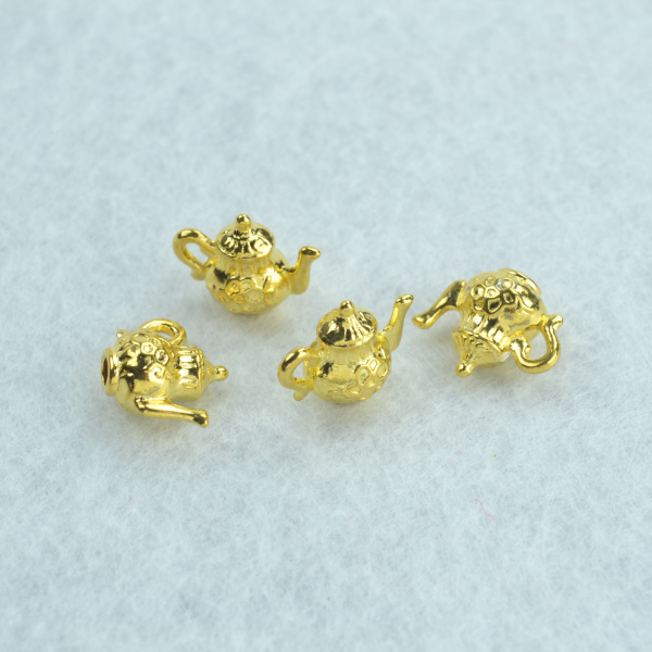 50pcs Metal charms gold color kettle pendants jewelry findings and components fit necklaces and bracelets making Z142127