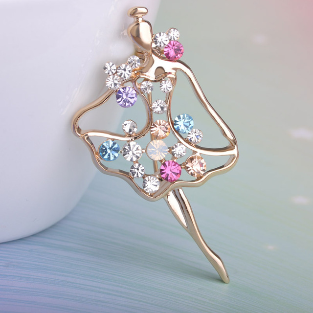 Ballet Girl Brooch Pins Ladies Temperament Brooches Crystal Paved Ballet Party Wedding Apparel Accessory Gold-color Broches
