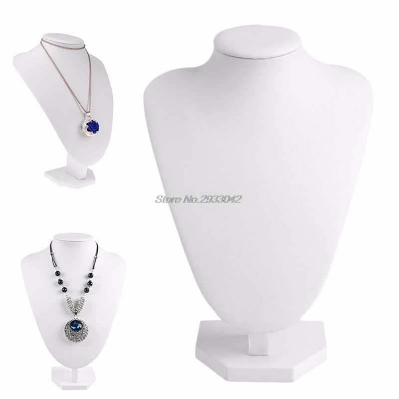 Mannequin display Faux Leather Jewelry Necklace Display Holder Neck Bust Stand Showcase