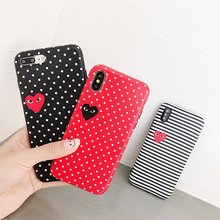 Купить с кэшбэком Hot Wave point CDG Play Comme des Garcons Blu-ray soft cover case for iphone 6 6S plus 7 7plus 8 8plus X Love stripe phone cases