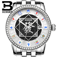 Quintessência da China Mahjong Relógios Homens Mecânicos Safira Cristais Real Relógio Completa Aço Relógio de Pulso Auto Vento Cultura Lembranças