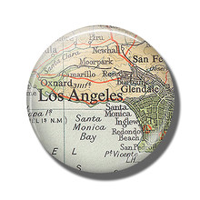 Los Angeles Map 30 MM Fridge Glendale Monica Burbank Oxnard Map Glass Dome Magnetic Refrigerator Stickers Note Holder Home Decor(China)
