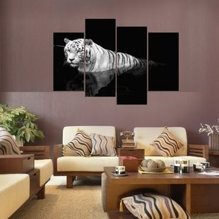 XQL ART 4 Panel 3D Black And White Tiger Group Print Painting (No Frame)  For Home Decor Modern Wall Art Pictures For Living Room