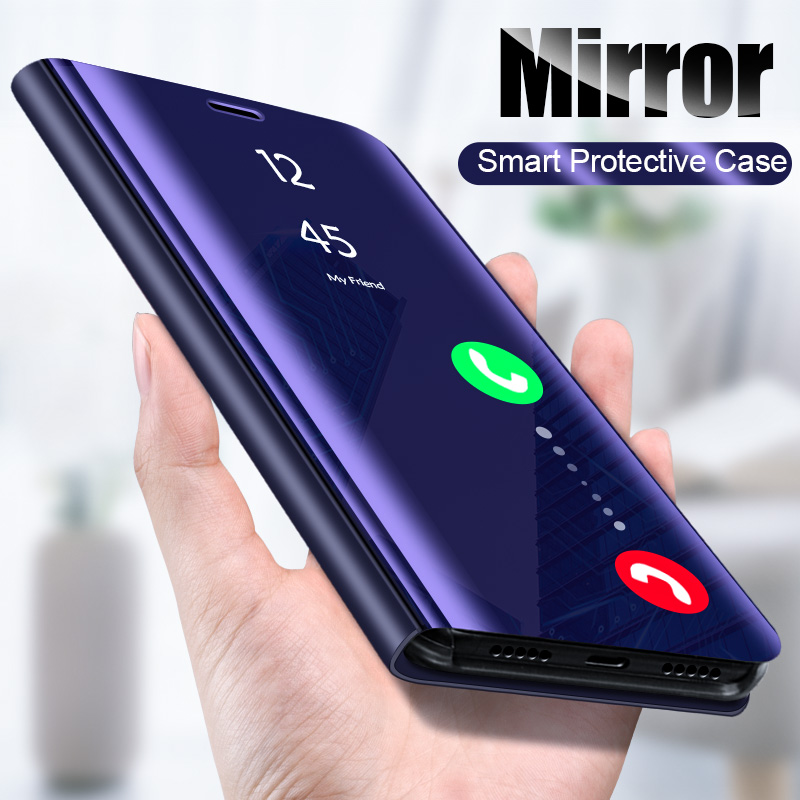 Smart Mirror Flip <font><b>Case</b></font> For <font><b>Samsung</b></font> Galaxy S10 S9 S8 Plus S10E Cover For <font><b>Samsung</b></font> Note 10 Plus 9 8 A40 A50 A70 A7 A9 J6 2018 Coque image