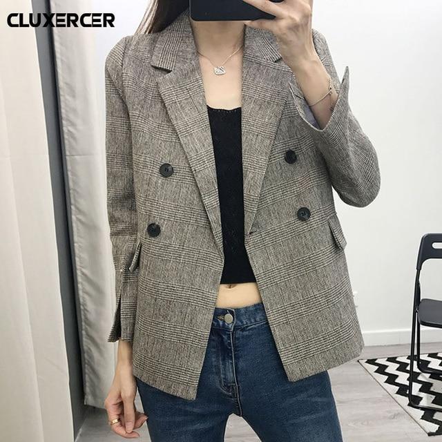 2018 New Autumn Fashion Plaid Blazer Casual Suit Women Blazer Slim Double Breasted Work Design Coat jackets blazer feminino