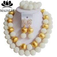 Trendy Nigeria Wedding white african beads jewelry set Plastic necklace bracelet earrings Free shipping Majalia-135
